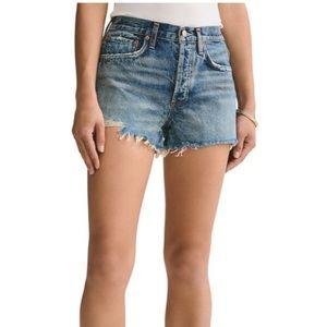 AGOLDE Parker high waisted denim cut off shorts